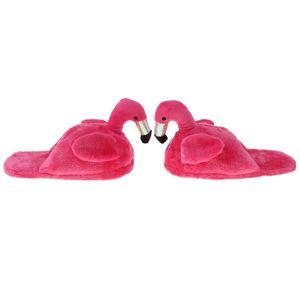 Hausschuhe Netter Gemütlicher Plüsch Flamingo Pantoffel Tierhausschuhe Rose Halbe Hausschuhe