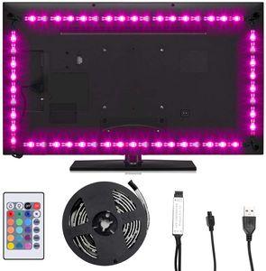SUNNEST LED Strip 2M TV LED Hintergrundbeleuchtung USB led strips (4X50cm) RGB LED Streifen Lichtband mit Fernbedienung