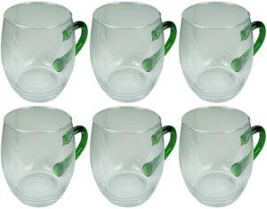 Novaliv 6x Weinseidel mit grünem Henkel 250 ml Weinglas geeicht Glas Weißweinglas Glühweingläser Glühweintasse  Punchgläser Teegläser mit Henkel Schorleglas