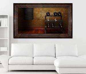3D Wandtattoo Fitness Hanteln Boxsack retro selbstklebend Wandbild Tattoo Wohnzimmer Wand Aufkleber 11L1524, Wandbild Größe F:ca. 162cmx97cm