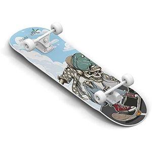 Muuwmi skateboard Skull 20 x 79 cm Holz blau/schwarz