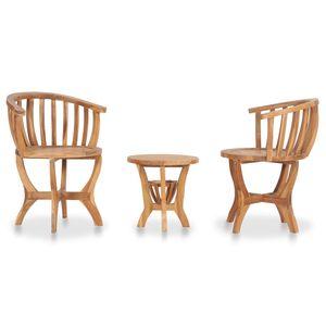 dereoir 3-tlg. Garten-Bistro-Set Teak Massivholz