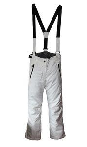 Damen Skihose mit Träger Snowboardhose Schneehose Ski Winterhose - Weiß, L (Farbe: Weiß, Größe: L)