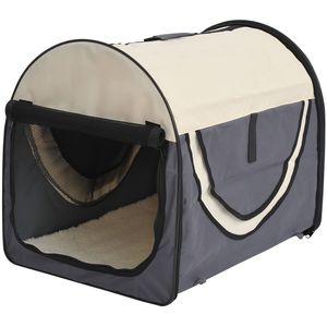 PawHut Hundebox faltbare Hundetransportbox Transportbox für Tier 2 Farben 5 Größen (M (61x46x51 cm), dunkelgrau-creme)
