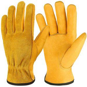 Gartenhandschuhe Rindsleder-Arbeitshandschuhe, atmungsaktive flexible Leder-Arbeitshandschuhe für Männer und Frauen, Hochleistungs-Rigging-Handschuhe für den Garten, Angeln - Mittel