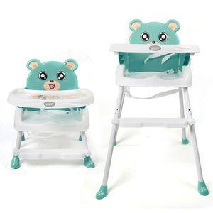 Hochstuhl Kinderhochstuhl Babystuhl Treppenhochstuhl 4 in 1 Kindertreppenhochstuhl Kinderstuhl    stabil Stuhl Mit Tablett Verstellbar tragbare  Essstuhlmit Tablett Sicherheitsgurt Höhenverstellbar für 6 Monate bis 3 Jahre  Mit Zwei feststellbare hintere rollende Universalräder (Grün)