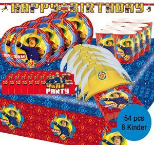 Party-Set Kindergeburtstag Feuerwehr Feuerwehrmann Sam, 54-tlg.