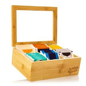 Klarstein Teebox Teekasten Teebeutelspender Aufbewahrungsbox , 6 Fächer , Holzoptik , Kunststoff-Sichtfenster , für 90 Teebeutel , aus Bambus
