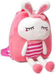 Kindergartenrucksack Mädchen, Niedlich Kinderrucksack Plüsch Tier Klein Mini Rucksack Kindergarten für Baby(Kaninchen)