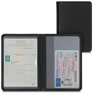 kwmobile Fahrzeugschein Hülle mit Kartenfächern - Kunstleder Etui Tasche Zulassungsbescheinigung - Carbon Schwarz Rot