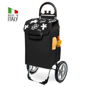 Kiley Einkaufstrolley XXL in schwarz mit Blumenmuster 78 Liter & Seitentaschen große Räder