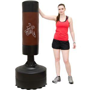Standboxsack 170cm hoch Gefüllter Freistehender Boxsack für Erwachsene Boxpartner Tube Trainer Punching Bag Box Dummy Schwarz/Braun