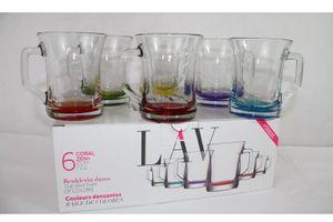 6 teiliges Getränke-, Cappuccino-, Teegläser farbige mit Henkel 225ml