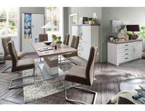 Esszimmer Eppan 140 Pinie weiss Nb + Stühle Salvina 1 sand ausziehbar, Beleuchtung:ohne Beleuchtung, Anzahl Stühle:mit 6 Stühlen