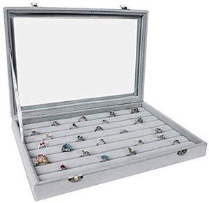 Schmuckkasten Schmucklade Schaukasten Schmuckdisplay mit Glasdeckel für Ringe Glasdeckel grau