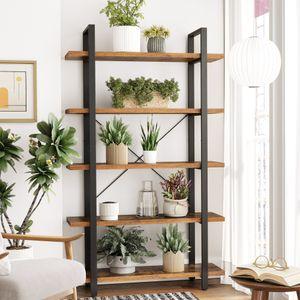 VASAGLE Bücherregal, stabiles Standregal mit 5 Regalebenen,  177,5 x 105 x 33,5 cm, einfacher Aufbau, vintagebraun-schwarz LLS55BX