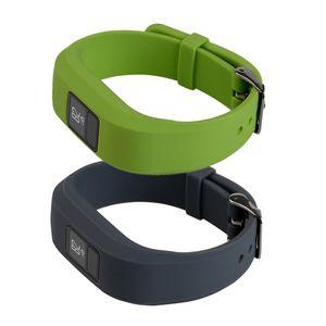 2 Stück Ersatz Silikon  Uhrenarmband für Armbanduhr mit Edelstahl Dornschließe Schnalle für Garmin Vivofit 3 - Schwarz + Grün
