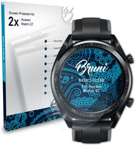 Bruni Basics-Clear 2x Schutzfolie kompatibel mit Huawei Watch GT Folie