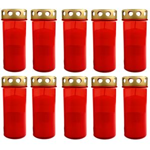 10er Set XL Grablicht Rot | Grabkerze mit Deckel | Großer Grabbrenner | Grablaterne Grableuchte | Grablampe Dauerbrenner