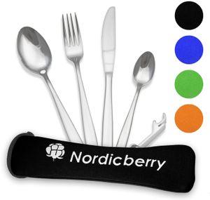 Nordicberry Premium Outdoor Reisebesteck und Campingbesteck aus hochwertigem Edelstahl mit Neoprentasche (Schwarz)