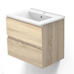 Badezimmer Badmöbel 60 cm Eiche CARMEN - Badezimmermöbel Vormontiert mit Waschtisch Unterschrank