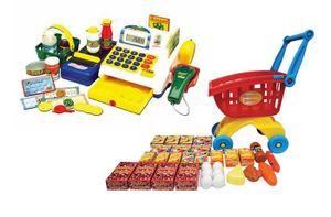Kinder Registrierkasse Kaufladen Einkaufswagen Scanner Kasse Laufband + Zubehör