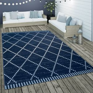 In- & Outdoor Flachgewebe Teppich Ethno Geometrisch Skandi-Design In Blau Weiß, Grösse:200x290 cm