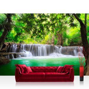 Vlies Fototapete no. 0067 - 300X210 cm - Deep Forest Waterfalls Natur Tapete Wasserfall Bäume Wald Thailand See Wasser Meer grün liwwing (R)