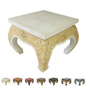 Opiumtisch Beistelltisch Couchtisch 50 x 50 cm Thailand Tisch Holz Antik mit Goldverzierung, Farbe:Weiss