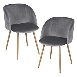 IPOTIUS 2er Set Vintager Retro Stuhl Polstersessel Samt Lounge Sessel Clubsessel Fernsehsessel Grau
