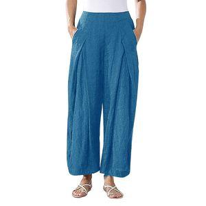 Plus Size Frauen Pure Color Tightness Weite Beinhose Pocket Easy Hose Größe:XXXL,Farbe:Hellblau