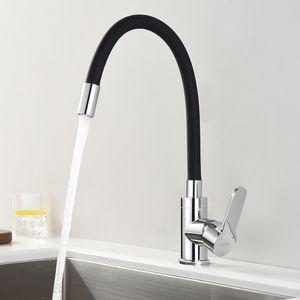 Küchenarmatur Schwarz 360° Flexibler Wasserhahn Küche Armatur Hochdruck Spültischarmatur Einhebelmischer Mischbatterie für Einzel- und Doppelspülbecken