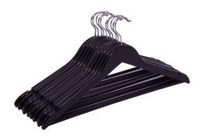 Schwarze Holz Kleiderbügel - 50 Stück (5x 10er Kleiderbügel-Set)
