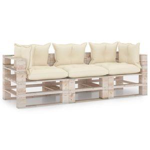 Eleganter Garten-Palettensofa 3-Sitzer Sofa Couch für 3 Personen mit Kissen Kiefernholz #DE251839