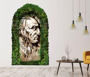 3D Wandtattoo Garten Tor Dschungel Indianer Häuptling Kopf  Schmuck Kunst Malerei Feder Pflanzen Tür Gewölbe Wand Aufkleber Wandsticker 11FB668, Größe in cm:97cmx160cm