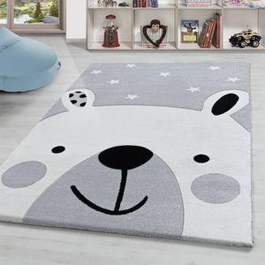 Kinderteppich Bär und Stern muster Kinderzimmer Hochwertig Grau Schwarz Weiss, Grösse:120x170 cm, Farbe:Silber