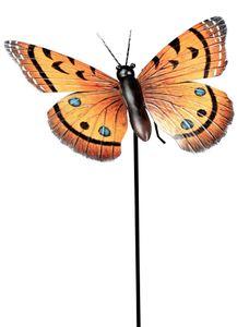 dekojohnson moderne Gartendeko Gartenstecker Dekostecker Schmetterling Pflanzenstecker Beetstecker Metallstecker orange 24cm