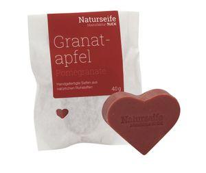 RUCK® Naturseife Herzform 40g - GRANATAPFEL