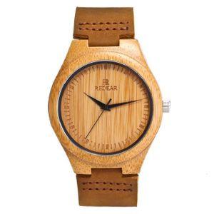 Holzuhr - Armbanduhr Black Edition aus Edelholz - Holz - Uhr- analoge Herren Quarzuhr mit Leuchtzeiger - Ø 50mm - Zero Waste Verpackung aus Naturholz