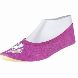 Beck Einhorn Mädchen Textil Gymnastik Schuhe fuchsia, Hauschuhe, Gummi Einsatz, Gummi Laufsohle, weiches Fußbett
