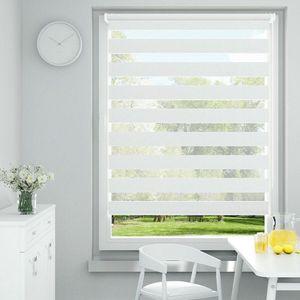 i@home Doppelrollo Duo Rollo 60 x 150cm Weiß Sonnenschutz Fensterrollo Klemmfix-ohne Bohre Seitenzugrollo