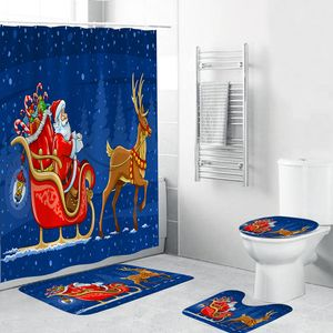 4 Stück Weihnachten Thema Badezimmer Dekoration Rutschfeste Teppich Toliet Abdeckung Badematte Duschvorhang【Blau】