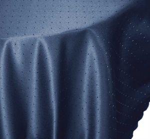 Tischdecke rund blau dunkel 160 cm Ø Punkte bügelfrei fleckenabweisend Mitteldecke