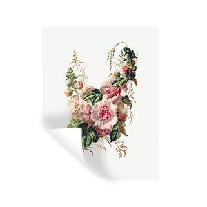 Wandaufkleber - Blumen - Rosen - Vintage - 60x80 cm - Repositionierbar
