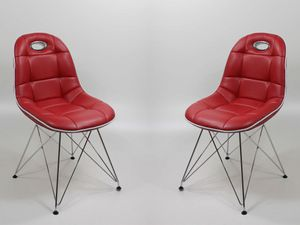 Stuhlgruppe Anabel verchromt Kunstleder rot Designerstuhl Schalenstuhl, Set-Inhalt:8 Stück