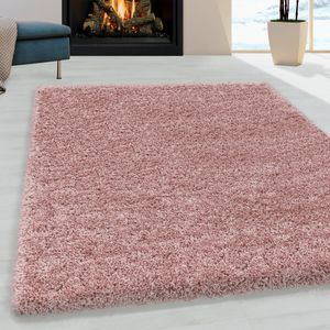 Teppium Kurzflor modern Teppich, Wohnzimmerteppich, Unifarben Shaggy, Rechteckig, Farbe:ROSA,200 cm x 200 cm Rund