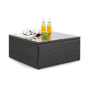 Blumfeldt Theia Loungetisch Beistelltisch Gartentisch (aus Polyrattan, Glasplatte, platzsparend) dunkelgrau