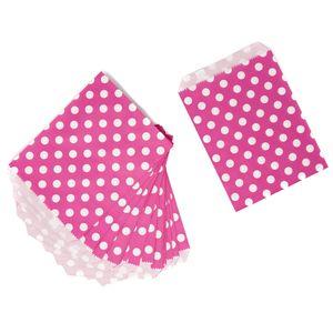 Oblique Unique 24 Geschenktüten Papiertüten Geschenktaschen Tüten gepunktet für Kinder Geburtstag Mitgebsel - pink