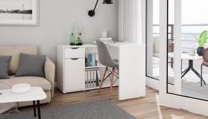 HOMEXPERTS Eckschreibtisch TURNER, mit drehbarer Tischplatte, im Handumdrehen zur Kommode verwandelt, in weiß