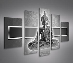 Bilder auf Leinwand Zen Buddha V2 MF 5 Teilig Kunstdruck XXL Bild Poster Leinwandbilder Wandbilder